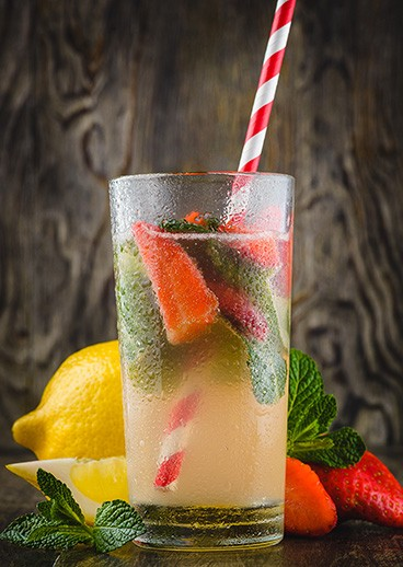 Lemonade with Basil and Strawberries - photo