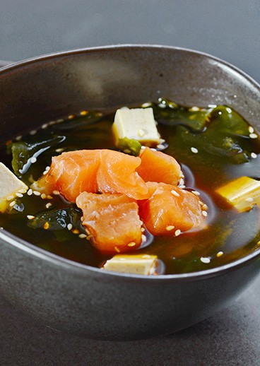 Miso soup with salmon - photo