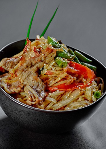Rice noodles with pork - photo