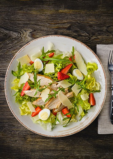 Caesar salad with strawberries - photo