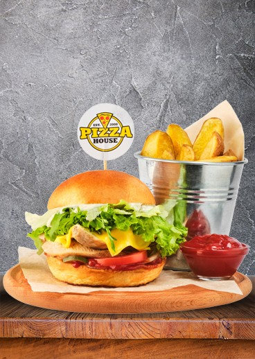 PARTY burger with grilled chicken, sliced ​​potatoes and sauce - big photo
