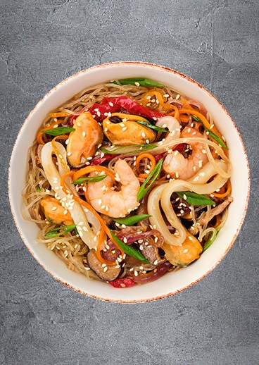 Glass noodles with seafood - big photo