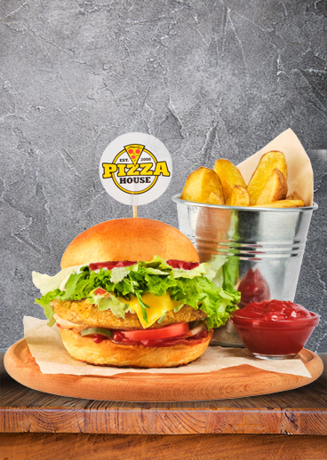 Children's Burger Party with chicken fillet, potato slices and ketchup sauce - photo