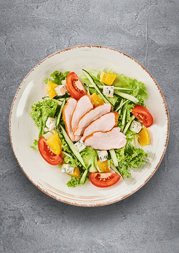 Mixed salad with smoked chicken fillet  and orange - photo