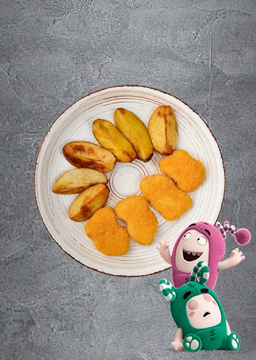 Blush nuggets with potato slices - photo