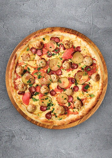 Pizza with meatballs  - photo