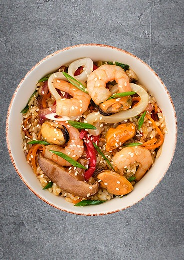 Rice with seafood - photo