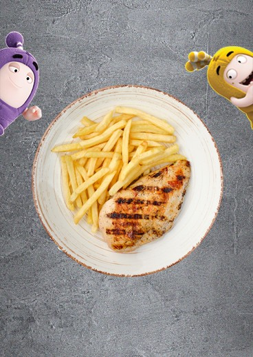 Juicy chicken with french fries - photo